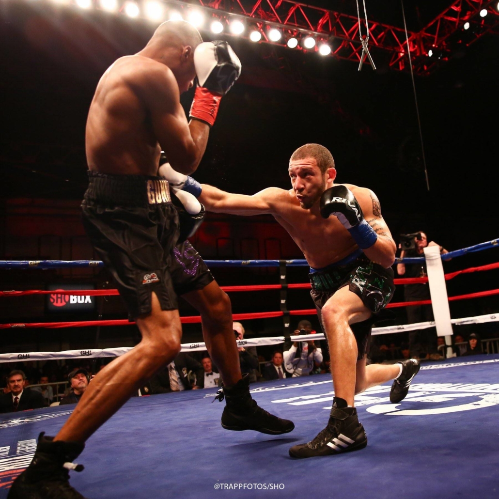 professional boxer will madera lands a right hand to the body of Thomas Mattice during a boxing match on shobox