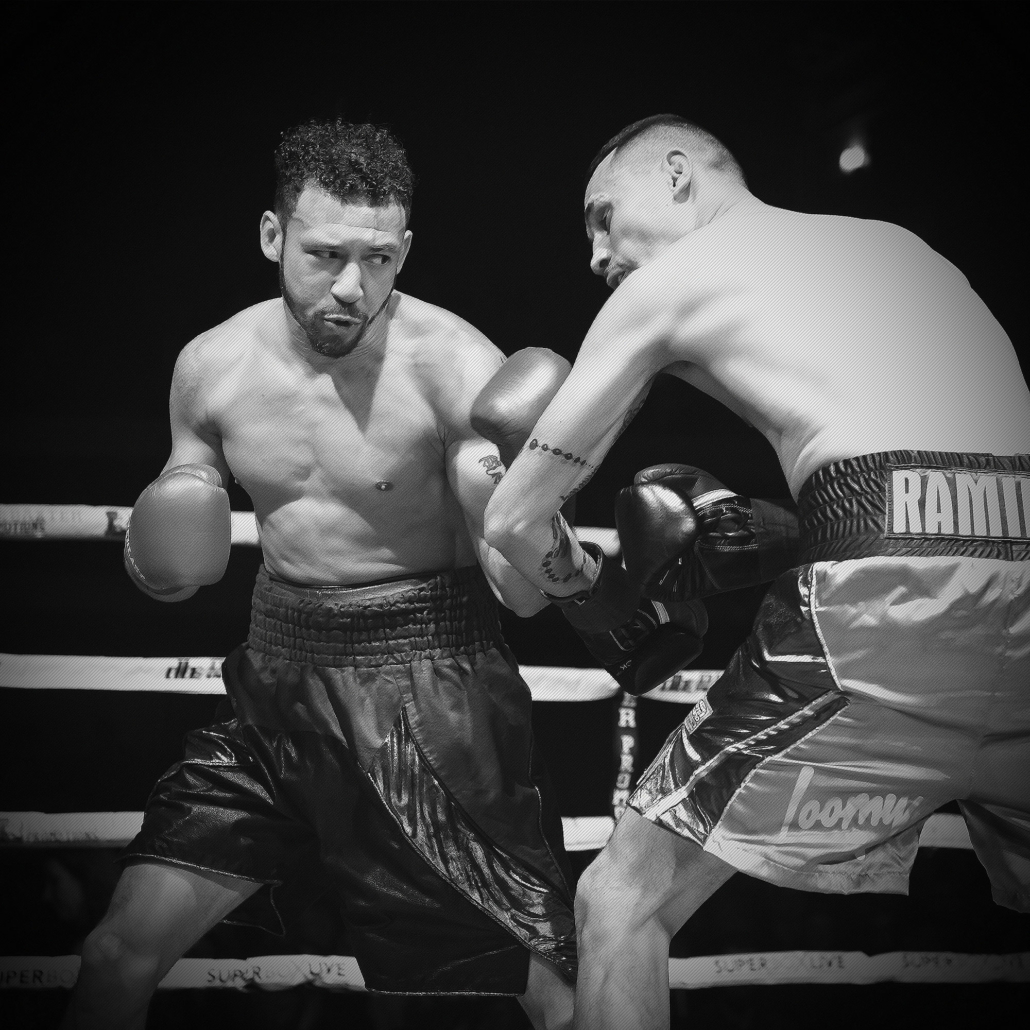 undefeated professional boxer will madera connects with a left hand during a boxing match against edgar ramirez in Toronto