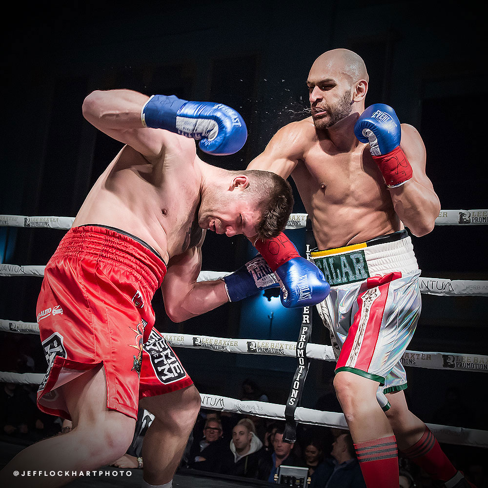 professional boxer salar gholami lands a crushing right hand on the face of Mateusz Kubiszyn during a boxing match