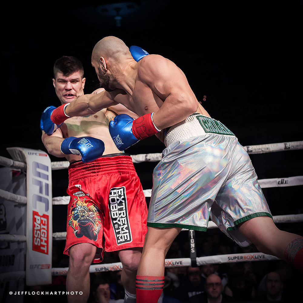 professional boxer salar gholami lands a right hand on the face of mateusz kubiszyn during a boxing match